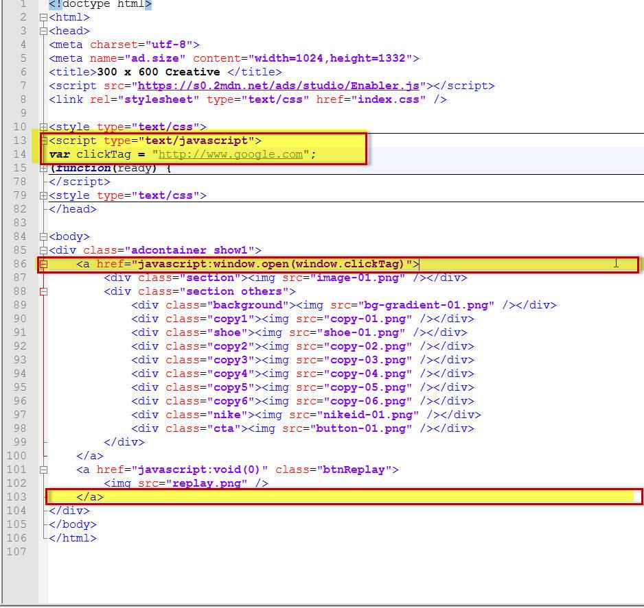 click tag google web designer